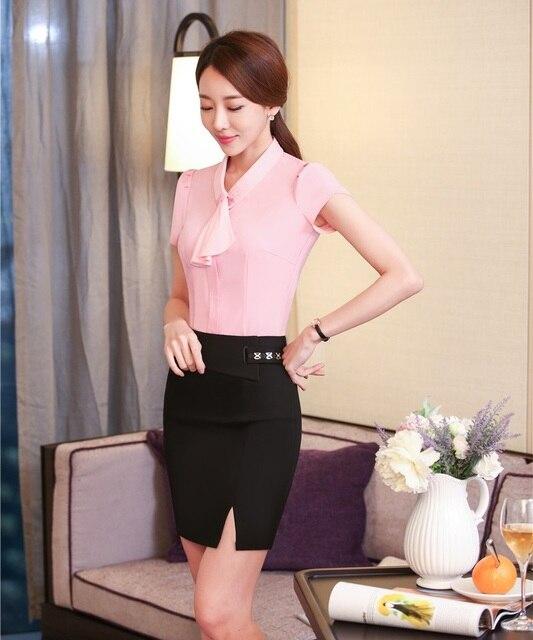 8fc2e33ea € 25.78 10% de DESCUENTO|Verano 2 unidades set mujeres Trajes con falda y  Top Womens Business Trajes señoras Oficina uniforme Blusas y camisas rosa  ...