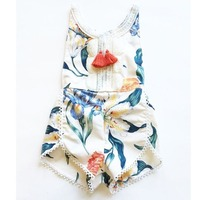Floral Newborn Infant Baby Girls Kids Sleeveless Clothing Fashion Flower Romper Jumpsuit Backless Cotton Sunsuit Outfits Clothes