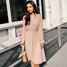 Mujeres dos capas chifón plisado vestido 2019 primavera otoño mujer vintage elegante manga larga suelta casual Oficina señora vestido