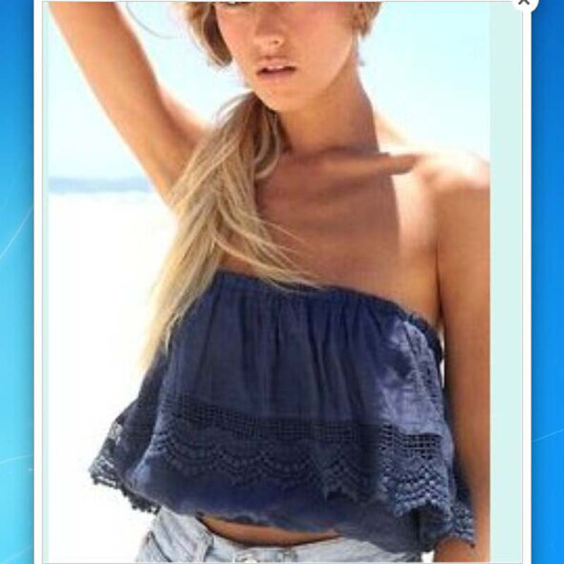 Summer sexy women strapless crop top crochet lace tube tops cropped shirts off the shoulder - Haut sexy femme ...