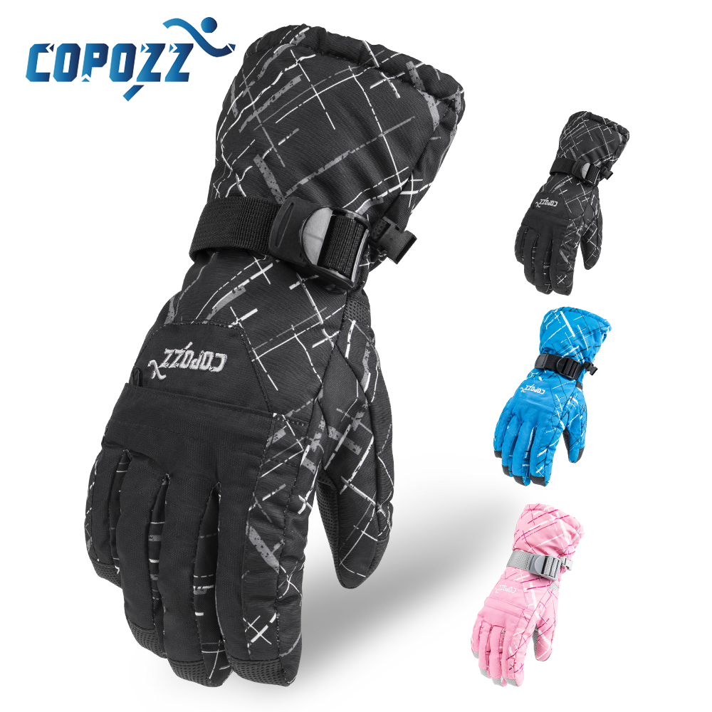 Guantes de esquí de marca COPOZZ para hombre, bolsa de TPU, guantes impermeables para moto, Snowmobile, Snowboard, esquí, guantes gruesos para montar
