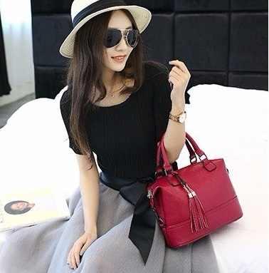 2019 Women Genuine Leather Handbags Luxury Brand Handbags Women Bags Messenger Designer Tassel Fashion Women's Shoulder Bags X43