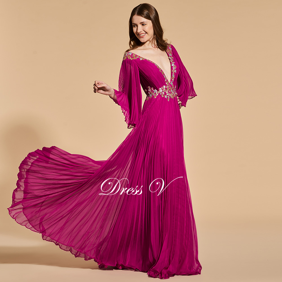 Dressv dark plum elegant long prom dress v neck 3/4 sleeves floor ...
