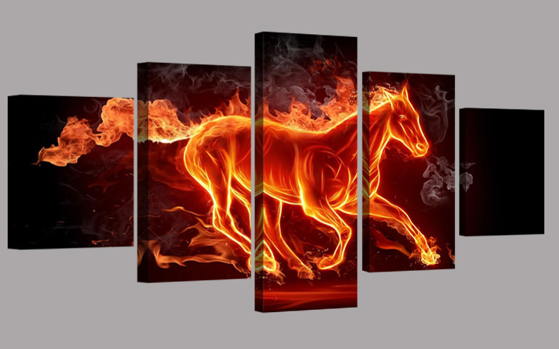5 pcs canvas print painting cuadros large abstract horse for Imagenes de cuadros abstractos famosos