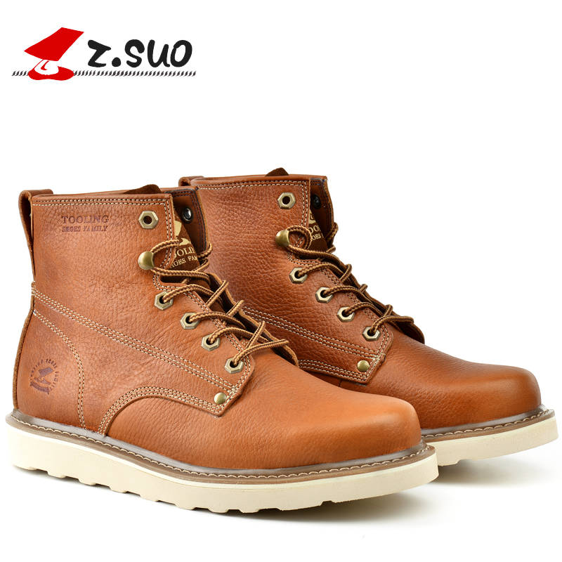 Z.Suo High Quality Brand 2017 Men's Casual Genuine Cow Leather Boots Men England Retro Light Tooling Work High Top Boots ZS16205