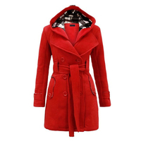 Thick Coat Women Casual Overcoat Outerwear Long Jacket Woman 2019 Winter Hooded Belt Double Breasted Coat Blends Pockets Long