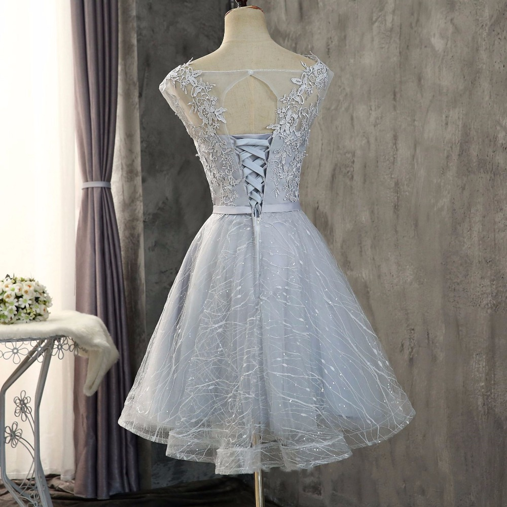 Walk Beside You Champagne Bridesmaid Dresses Lace Gray Short A line Appliques Cheap Sleeveless Honor Wedding Guest Dress Party in Bridesmaid Dresses from Weddings Events