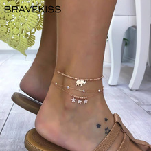 BRAVEKISS ножной браслет со слоном, ретро Звезда, бусины, кулон, ножной браслет, модное ювелирное изделие для женщин, праздник/день, новинка, BPA0022