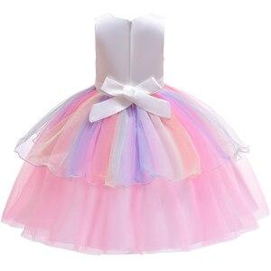 Image 2 - 女の子ユニコーン衣装ガール虹花チュチュドレスとユニコーンヘッドバンドホーン花のヘアフープセット子供のための誕生日のテーマ
