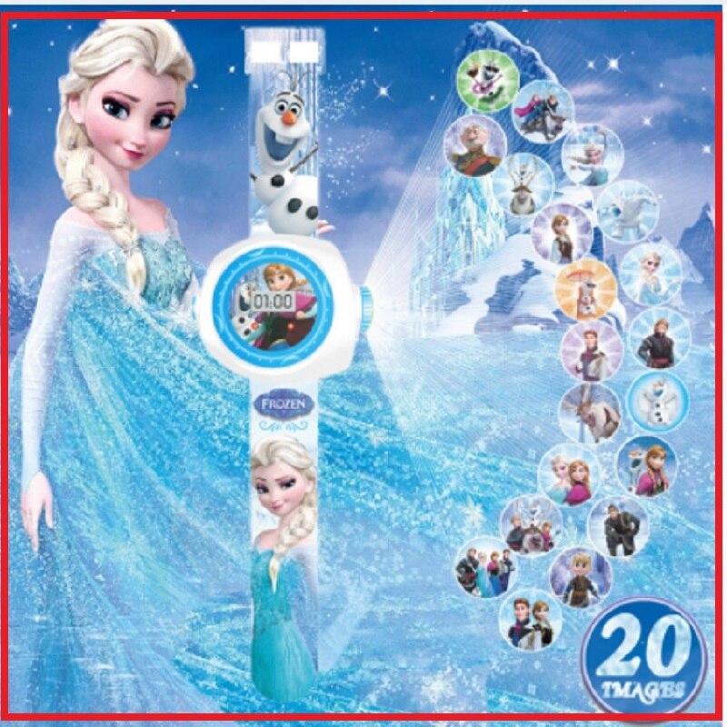 Children Watch Clock Projection Digital Elsa Girls Electronic Boys Kids Princess Cartoon