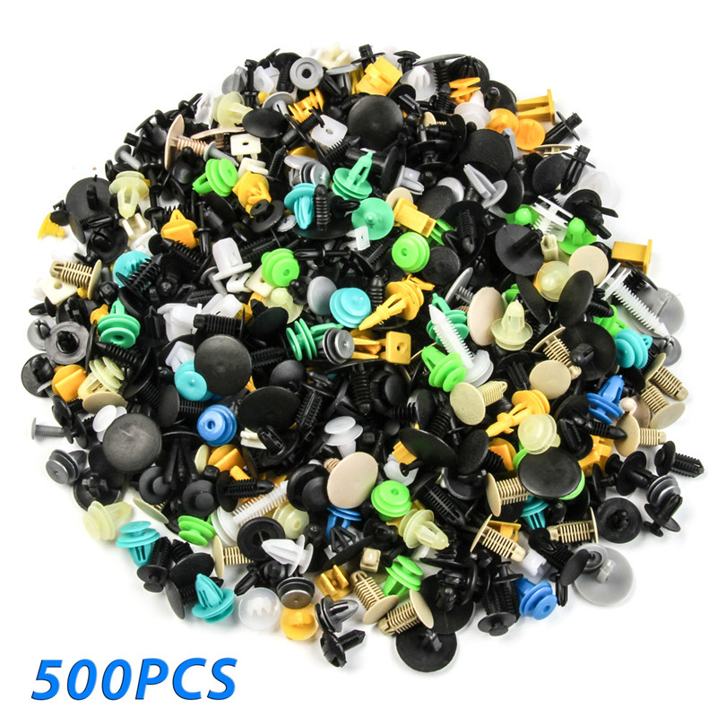500PCS Universal Mixed Fasteners Door Trim Panel Auto Bumper Rivet Clips Retainer Push Engine Cover Fender Fastener Set Kit universal car door panel plastic snap push pins fasteners clips black 20 pcs