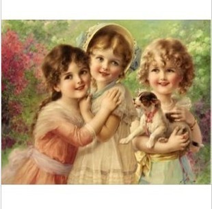 free shipping accurate print cross stitch kit diy needlework cross stitch set 3 little girls unfinished, without Frame