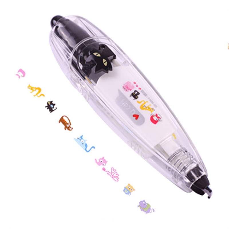 Kawaii Animals Press Type Decorative Correction Tape Diary Stationery School Supply(Black Cat)