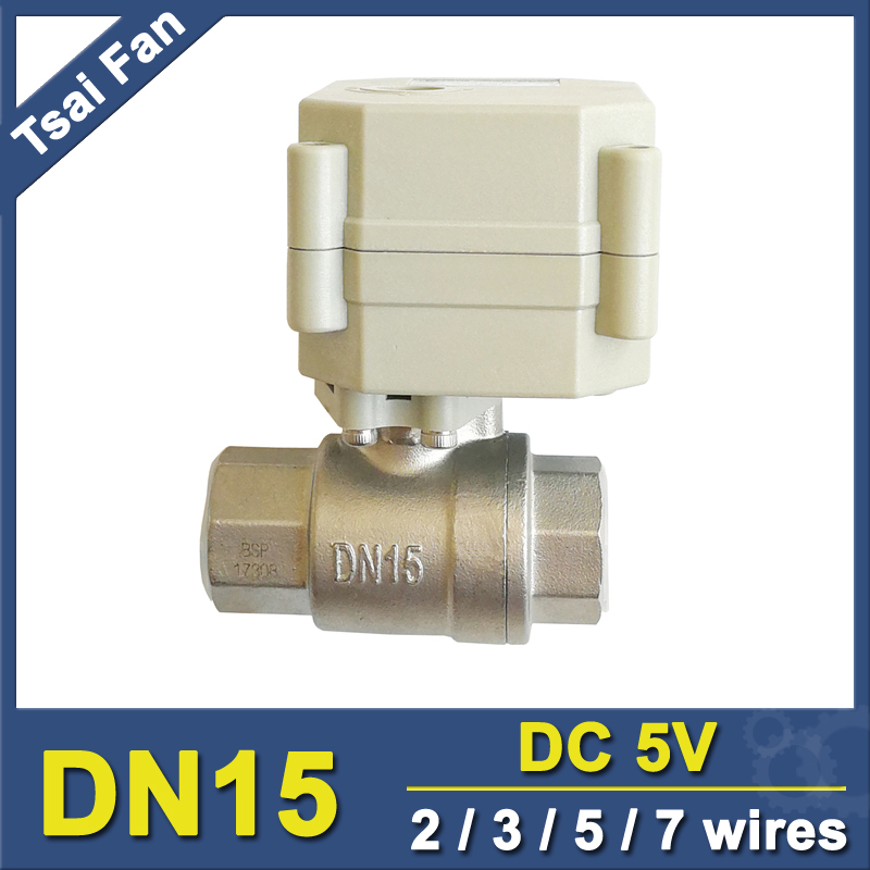 TF15-S2-C DC5V 2/3/5/7 Wires 2 Way DN15 Motorized Ball Valve NPT/BSP 1/2'' Stainless Steel Actuated Ball Valve For Flow Control 1pc furniture handles vintage butterfly cabinet knobs and handles ceramic door knob cupboard dresser drawer kitchen pull handle