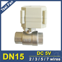 DN15 Motorized Ball Valve, NPT/BSP 1/2'' stainless steel valve,2 way, DC5V 5 wires with position indicator for water control  tf valve tf15 s2 a stainless steel 1 2 motorized ball valve dc5v 7 wires dn15 electric ball valve for water control systems
