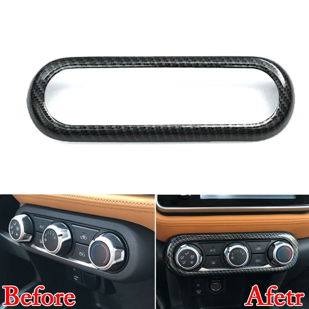 Car Interior Chrome/Carbon Air Condition Button A/C Panel Cover Trim Mouldings Fit For Nissan Kicks 2017 Car Styling Accessories for nissan r34 gtr carbon fiber radio surround stick on type rhd fibre interior garnish car styling in stock
