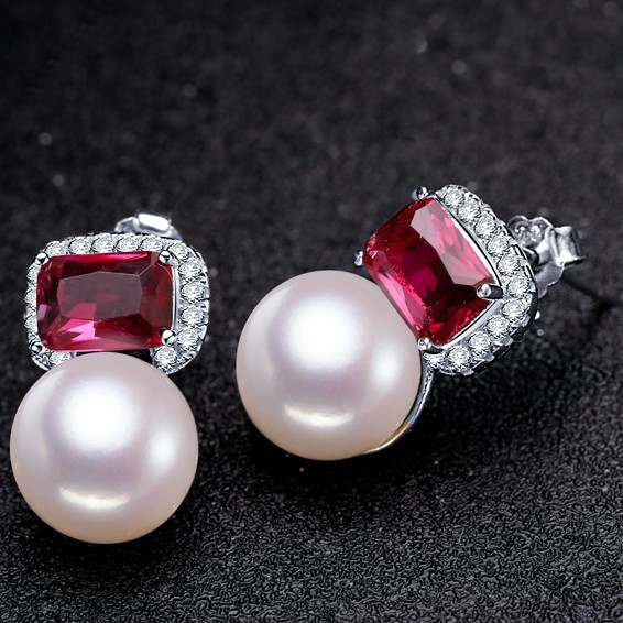 2017 Women Elegant Pearl Earrings Luxury Ruby Natural Genuine Stud Wedding