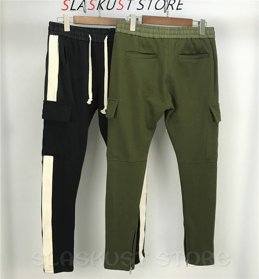 Beige Ruban Rayé Jogger pantalons de Survêtement Haute Qualité Chevilles Zippée Terry Pantalon Cargo Conique Fit Hommes Streetwear