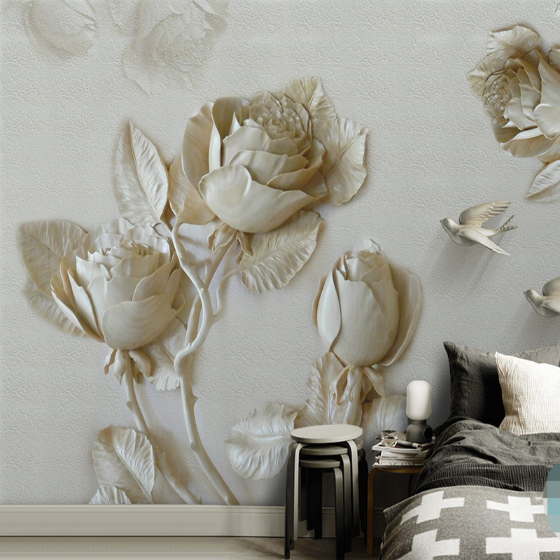 Custom Mural Wallpaper For Walls Home Decor 3D Stereo Relief Rose Flower Bird Background Wall Murals Papel De Parede Living Room custom 3d wallpaper mural chinese style flower and bird wallpaper restaurant living room bedroom sofa tv wall papel de parede