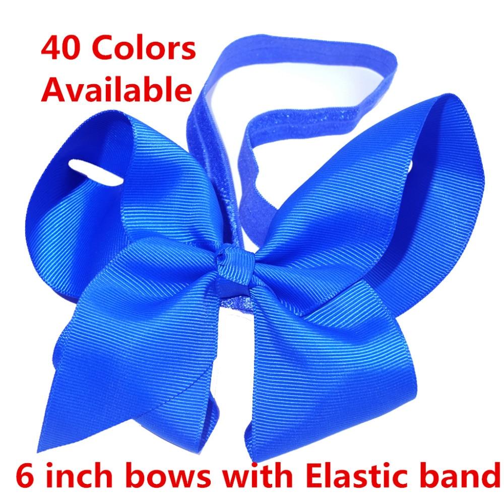 40 Colors Avialable Elastic Headband 6 Inch hair bow WITH headbands Flower Hairband Hair band Hair Elastic Headwear