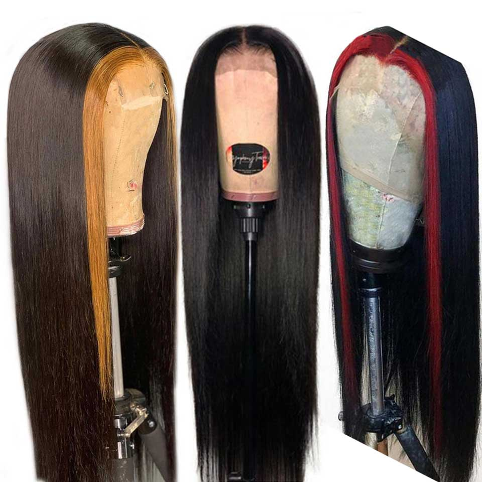 Customized 1B 30 Red Ombre Pre Plucked Lace Front Human Hair Wigs With Baby Hair Straight