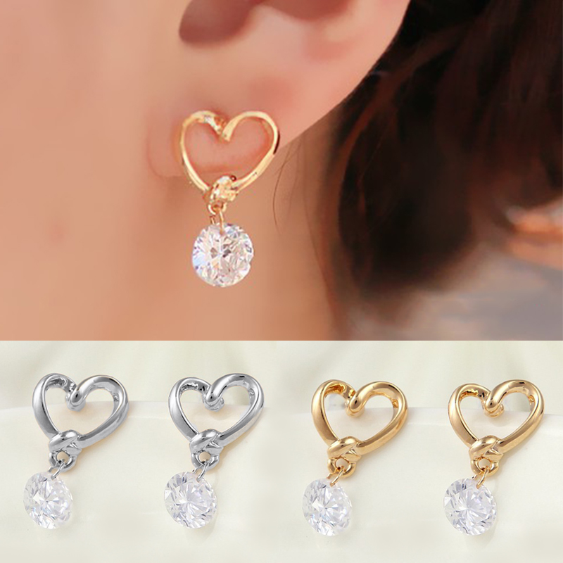 LNRRABC Golden Silvery Hollow Heart Big Zircon Transparent Crystal Women Lady Girl Trendy Ear Stud Popular Dangle Earrings