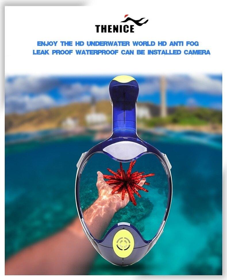 2018 nouveau THENICE masque de plongée masque de plongée complet équipement de plongée Anti-buée Anti-fuite respiration facile plongée en apnée - 4