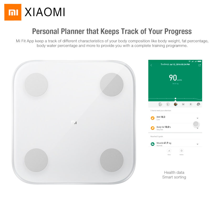 2019 Xiaomi Mi Smart Body Fat Scale 2 Bluetooth 5.0 APP Monitor Hidden LED Display Body Balance Test Body Composition Scale