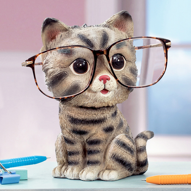 cat glasses stand resin crafts lovely eyeglasses sunglasses stand holder rack animal home decor. Black Bedroom Furniture Sets. Home Design Ideas