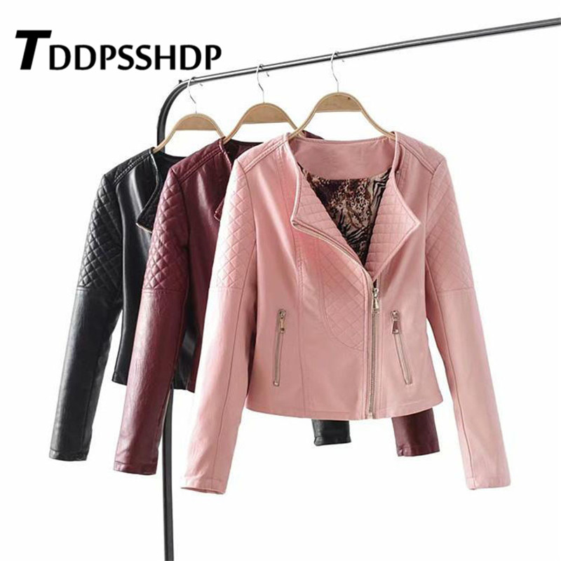 Rhombus Engraving Solid Color Round Neck Women Pu   Leather   Jacket 2019 Long Sleeve Pocket Female Coat