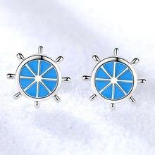 Классические синие серьги гвоздики для женщин с синим якорем