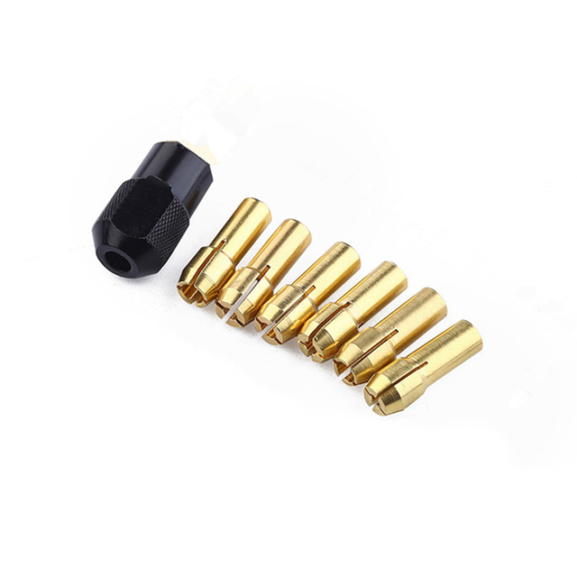New 6pcs 1-3.2mm Brass Drill Collet Chucks With M8x0.75mm Black Nut Accessories For dremel Rotary Tool