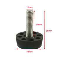 Black M10x25mm Screw 1000PCS M10 Screw 34mm Base Adjustable Furniture Leg Table Leveling Feet Pad JF1203