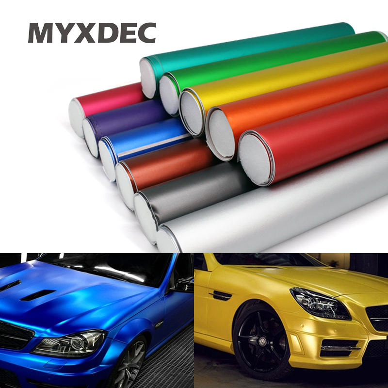 100*30CM Polymeric PVC Matte Chrome Vinyl Car Wraps Film Sticker Color Changing Motorcycle Sticker With Air Bubble Car Styling