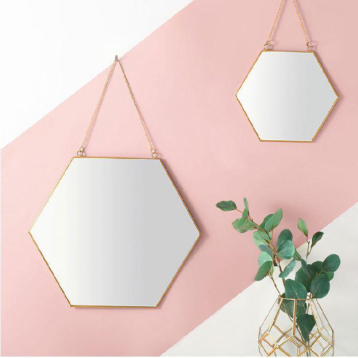 Nordique minimaliste géométrique modélisation doré laiton miroir salle de bain miroir cosmétique Mirro grand décor à la maison