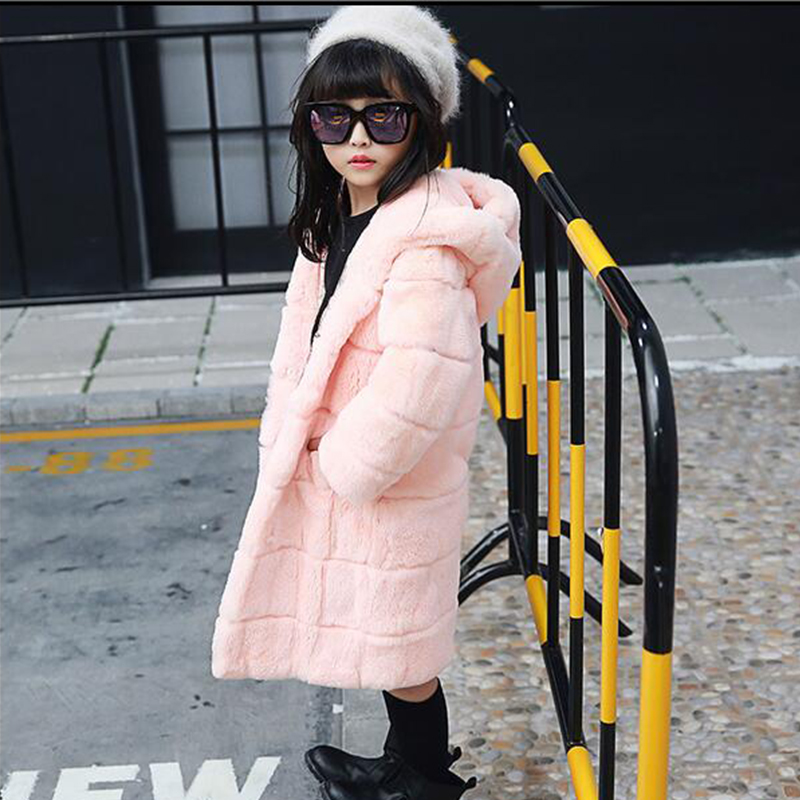 NEW Fashion Winter Rex Rabbit Fur Coat Grils Kids Warm Fur Hooded Clothing Children Warm Thick Solid Long Jackets Coats C#12 winter kids rex rabbit fur coats children warm girls rabbit fur jackets fashion thick outerwear clothes
