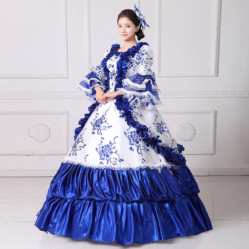 Anzug Blue Maskerade Kleider Prom Square Rokoko Prinzessin 18Jahrhundert F Sleeveless Barock Kleid Rundhals DI9EH2