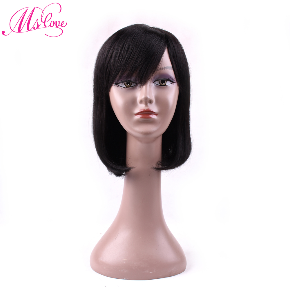 Ms Love Hair Wigs Straight Human Hair Wigs With Bang For Black Women Brazilian Non Remy Human Hair Wigs 1b# Human Hair Lace Wigs Lace Wigs