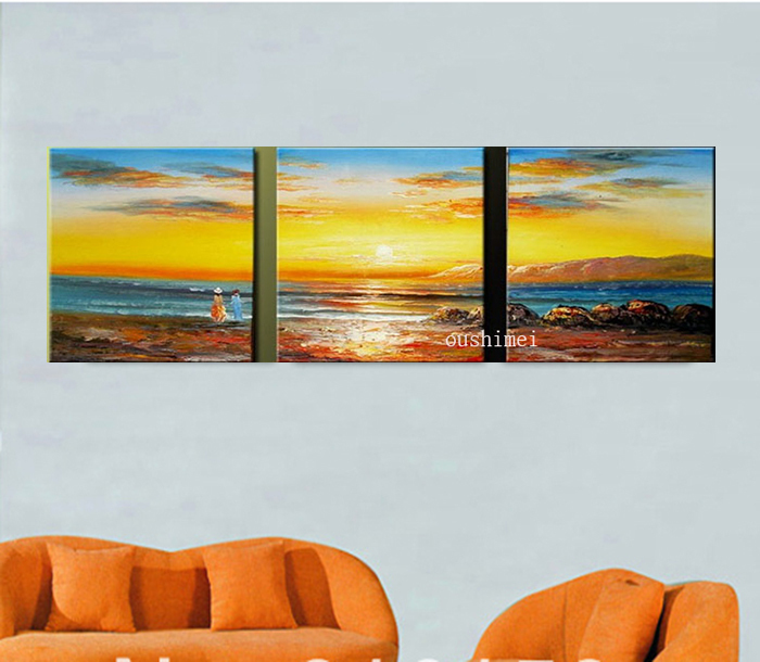①Handmade Beach Oil Painting Wall Painting Sunrise Picture Seascape ...