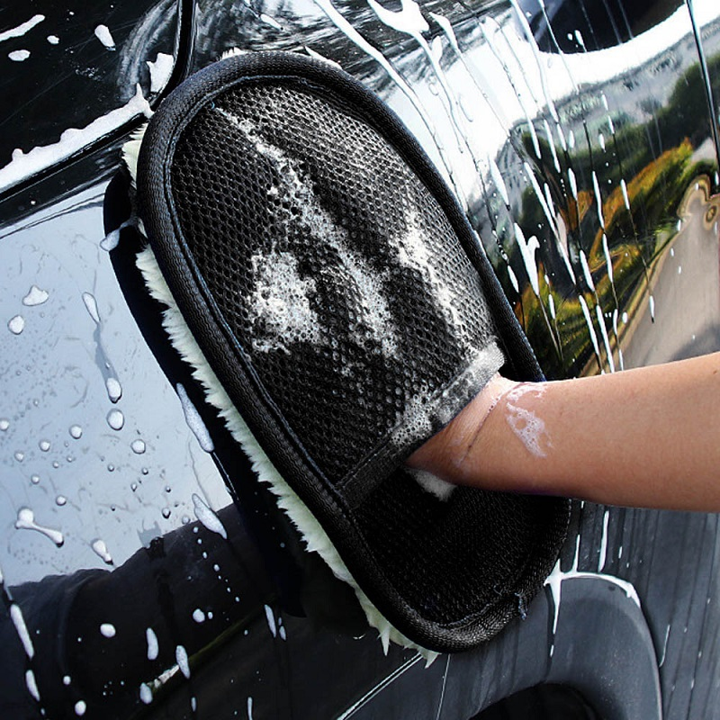 Car Wash Clean Gloves Sponge Brush Glass Cleaner Blue Wave Wool Gloves Auto Care Cleaning Tool Car Styling