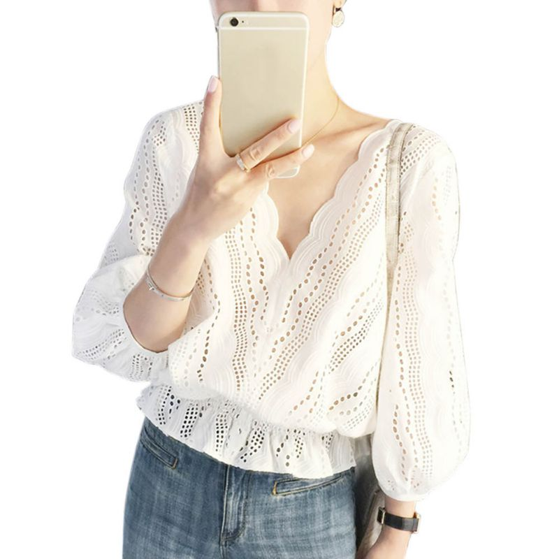 Spring Summer Hollow Out Tops   Blouse   Elegant Lace   Blouse     Shirt   Women Lantern Sleeve White   Blouse   Blusas