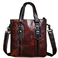 New Arrive 100% Genuine Leather Men Handbag Bag Vintage Style Embossing Men Shoulder Crossbody Bags Casual Tote Briefcase 2015