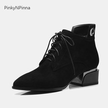 все цены на Women casual oxford shoes genuine leather cow suede lace up pointed toe square heels zipper British Derby preppy style boots онлайн