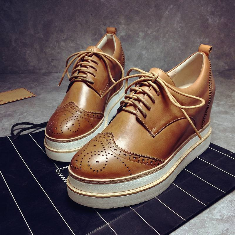 ФОТО 2017 New fashion brand shoe solid lace up gladiator high heel round  toe classic luxury wedges increased women causal shoes 6-1