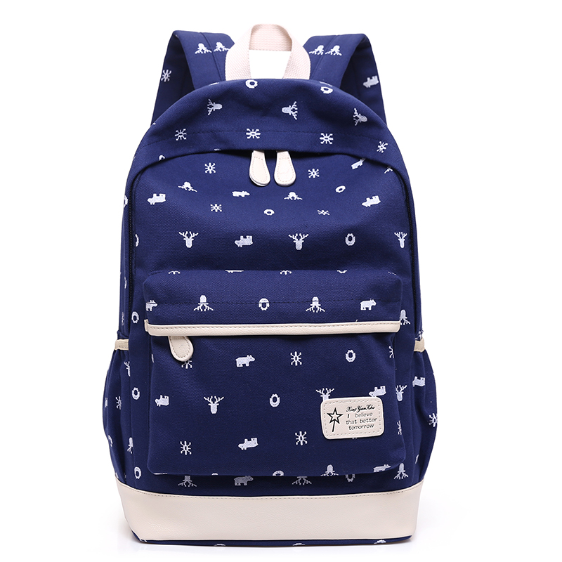 ecoparty Canvas Printing Backpack 3Pcs/Sets  Women Middle High School Bags For Teenage Girls Cute Student Backpacks Children yufang 2017 fashion backpacks brand 3 pcs sets women backpack star printing canvas school bags for teenager girls shoulder bag