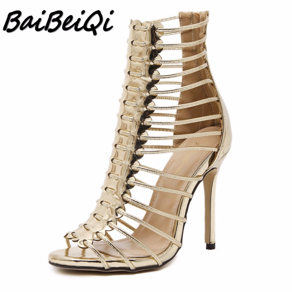 BaiBeiQi New summer women Gladiator high heels sandals shoes woman Hollow out Cross-tied ladies Sexy Peep Toe pumps stilettos