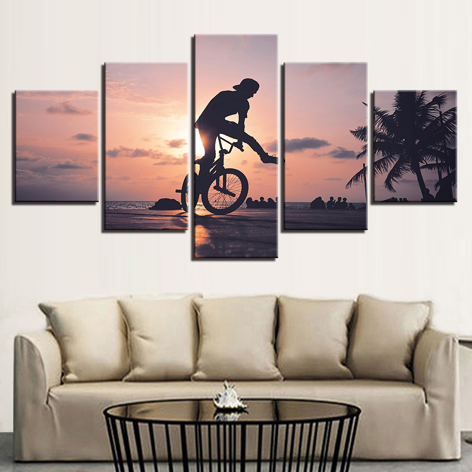 5 Pieces Sunset Bike Boy Poster HD Prints Extreme Sports Pictures For Living Room Canvas Paintings Wall Art Home Decor Framework