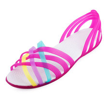 Women Jelly Shoes Rianbow Summer Sandals Female Flat Shoe Casual Ladies Slip Melissa Woman Candy Color Peep Toe Beach Shoes