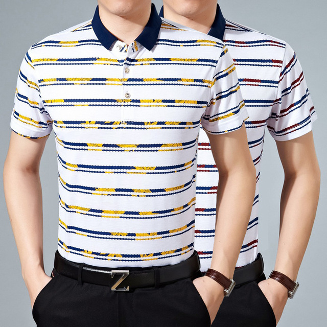 2016 de Moda de Verano de Estilo polo homme Casual y camisa de Polo de los hombres de Negocios Transpirable Suelta camisa de polo de polo de Manga corta
