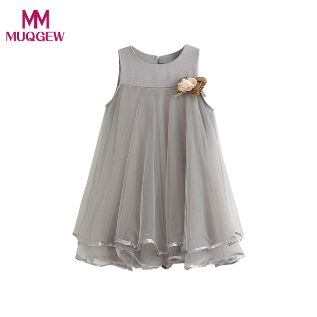 c26354b6d7163 2017 Girl Summer Dress Kids Sleeveless Printing Pattern Toddler Girl  Chiffon Dresses Sleeveless Drape Dress + Brooch Clothes